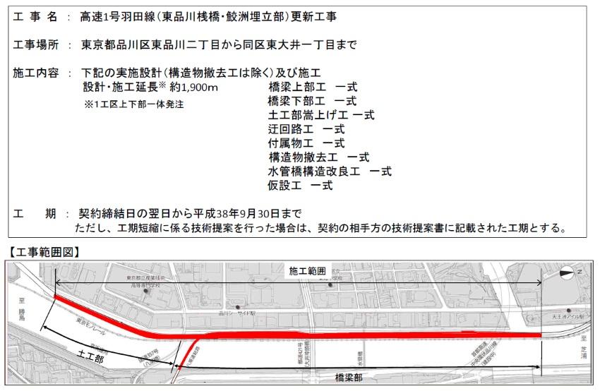 高速1号羽田線 工事範囲図 (出典:ケンプラッツ)