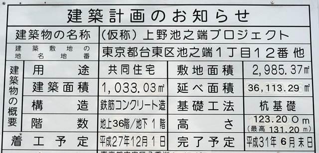 「(仮称)上野池之端プロジェクト」 2015.6.13
