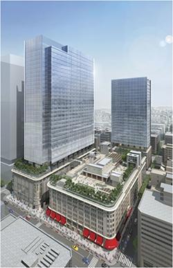 「日本橋二丁目地区第一種市街地再開発事業」 イメージ図 (出典:三井不動産)