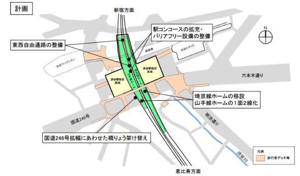 渋谷駅工事計画 (出典:ITmedia)