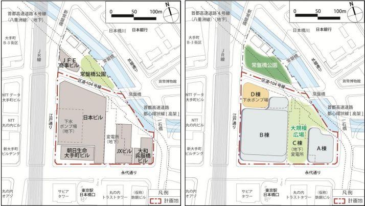 「常盤橋街区再開発プロジェクト」 計画配置図 (出典:三菱地所)