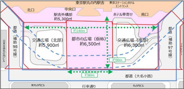 東京駅丸の内駅前広場整備 イメージ図 (出典:JR東日本)