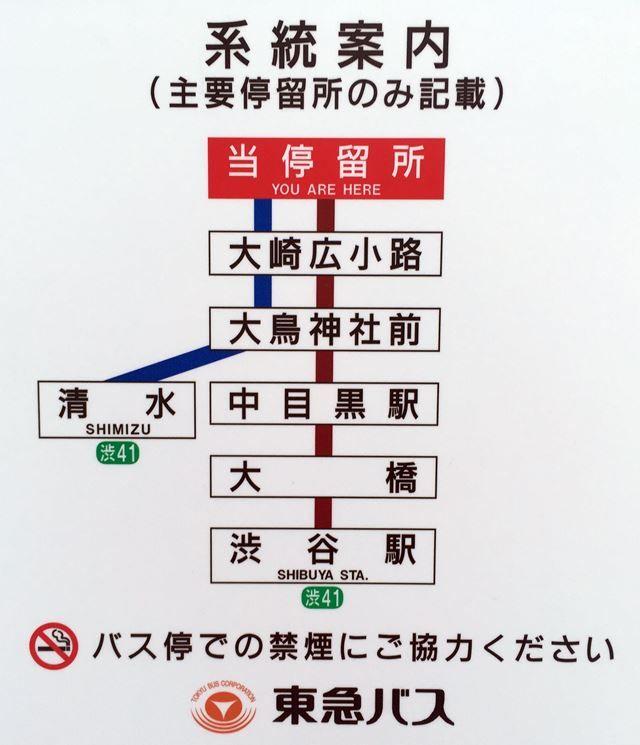 「大崎駅西口バスターミナル」 路線図 2016.1.10