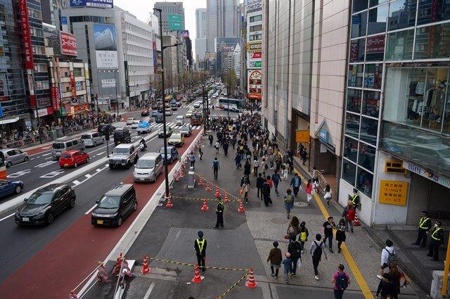 新宿駅側の甲州街道 2016.4.9