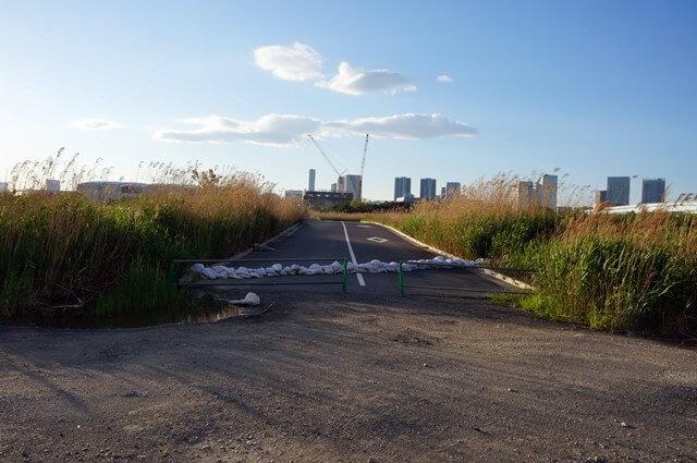 有明の工事中の道路 2016.4.29