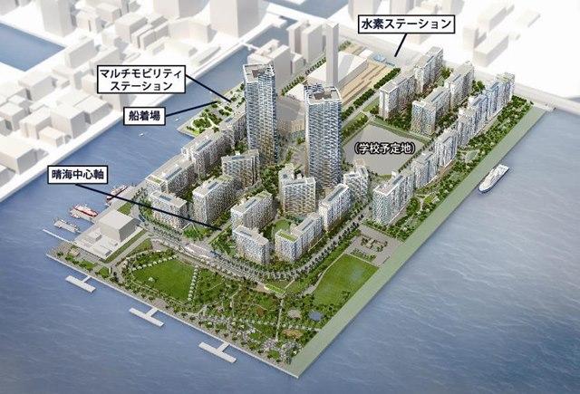 五輪後の晴海選手村整備計画 イメージ図 (出典:日刊建設工業新聞)