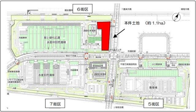 豊洲市場 千客万来施設 位置図 (出典:東京都)