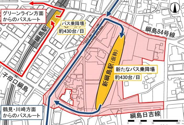 新綱島駅(仮称)周辺地区における都市計画 バス乗降場の再編計画 (出典:横浜市)