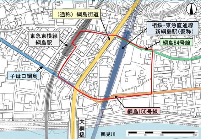 新綱島駅(仮称)周辺地区における都市計画 位置図 (出典:横浜市)