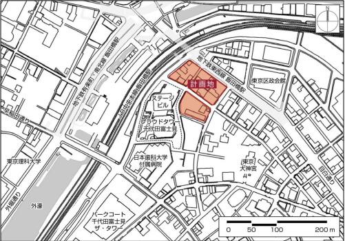 「飯田橋駅中央地区再開発事業」 位置図 (出典:野村不動産)
