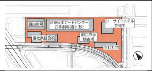 「(仮称)竹芝ウォーターフロント開発事業」 配置図 現状 (出典:JR東日本)