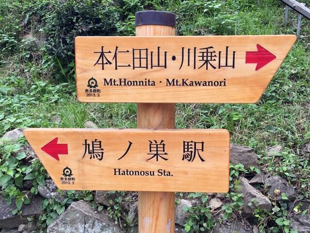 川苔山 登山の標識 2016年8月中旬