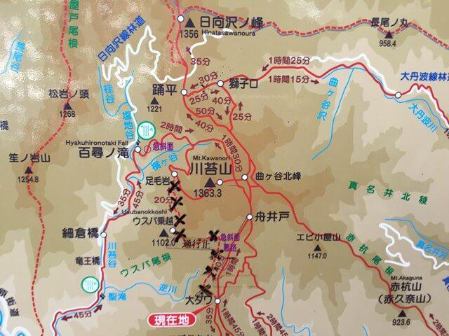 川苔山 登山地図 2016年8月中旬