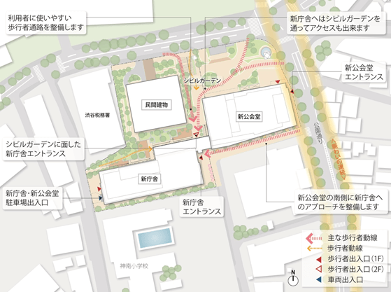 渋谷区役所 配置図 (出典:渋谷区)