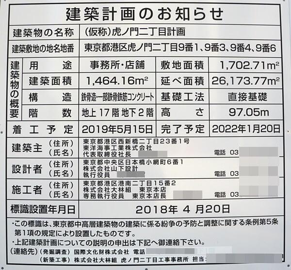 (仮称)虎ノ門二丁目計画 2019.8.24
