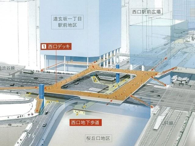 「渋谷駅西口歩道橋架け替え工事」 イメージ図 (出典:シブヤ経済新聞)