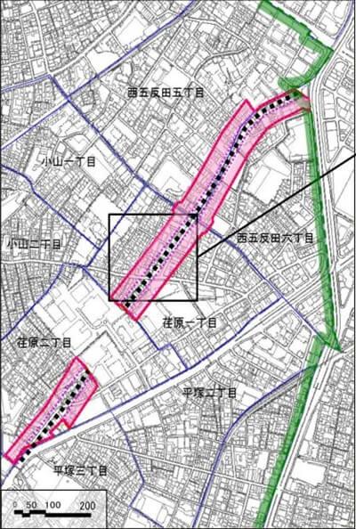 都市計画道路放射2号線 (出典:品川区)