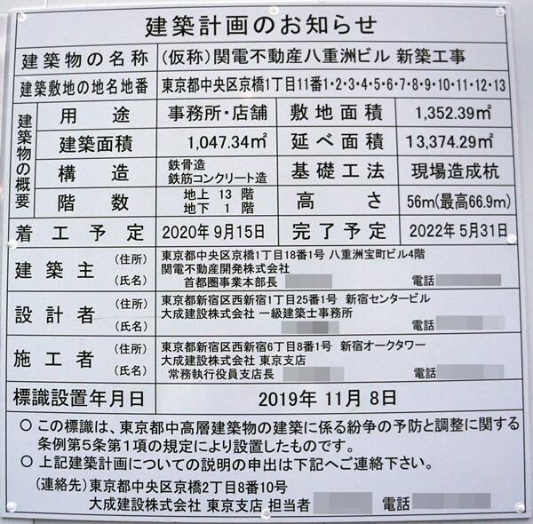 (仮称)関電不動産八重洲ビル新築工事 2020年3月下旬